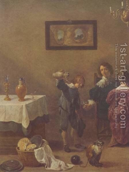 The five senses by David The Younger Teniers - Reproduction Oil Painting