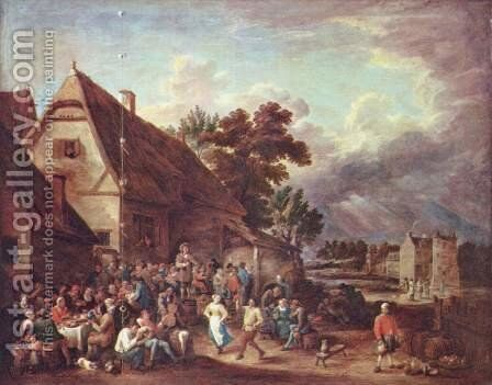 Large village fair with the dancing couple by David The Younger Teniers - Reproduction Oil Painting