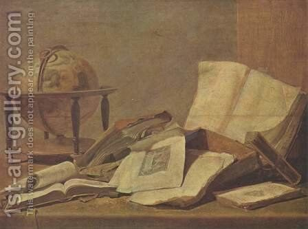 Still life with globe and books by David The Younger Teniers - Reproduction Oil Painting