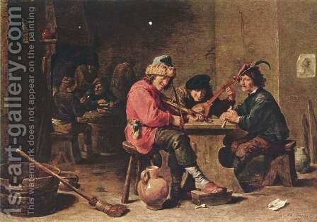 Three farmers making music by David The Younger Teniers - Reproduction Oil Painting