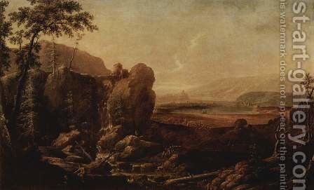 Landscape with Waterfall by Johann Alexander Thiele - Reproduction Oil Painting