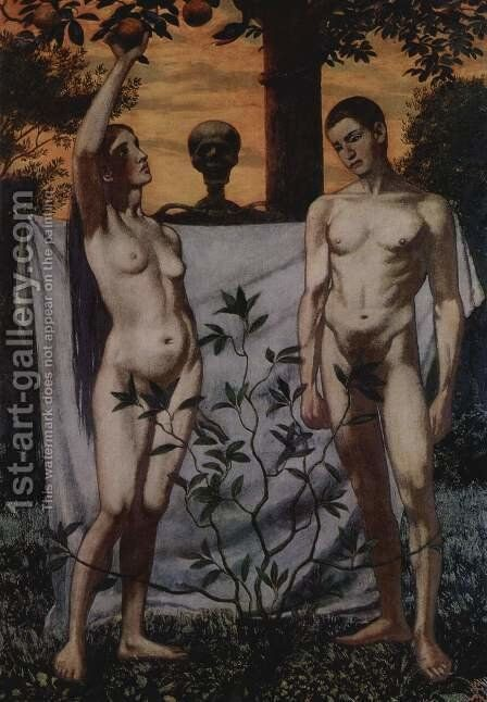 Adam and Eve by Hans Thoma - Reproduction Oil Painting