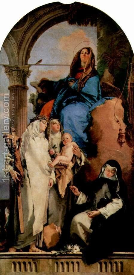 Madonna with St. Catherine, St. Rose, who hold the child and the squatting St. Agnes by Giovanni Battista Tiepolo - Reproduction Oil Painting