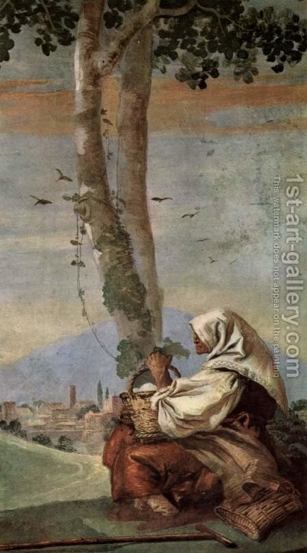 Frescoes in the Villa Valmarana, Vicenza, landscape scene with a seated peasant woman by Giovanni Domenico Tiepolo - Reproduction Oil Painting