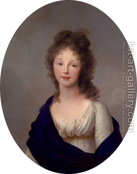 Portrait of Louise of Prussia, wife of Friedrich Wilhelm III., Oval by Johann Friedrich August Tischbein - Reproduction Oil Painting