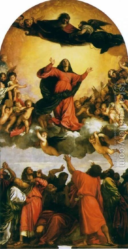 Assumption, the high altar of Sta. Maria Gloriosa dei Frari in Venice by Tiziano Vecellio (Titian) - Reproduction Oil Painting
