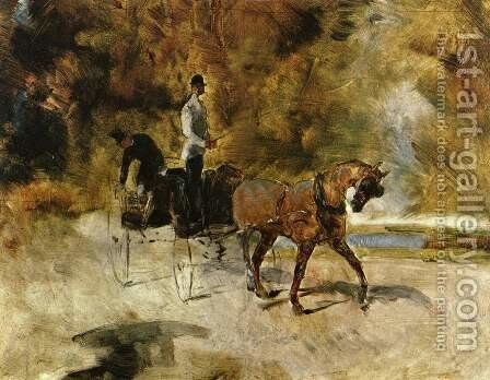 Dog-Car (Der Einspanner) by Toulouse-Lautrec - Reproduction Oil Painting