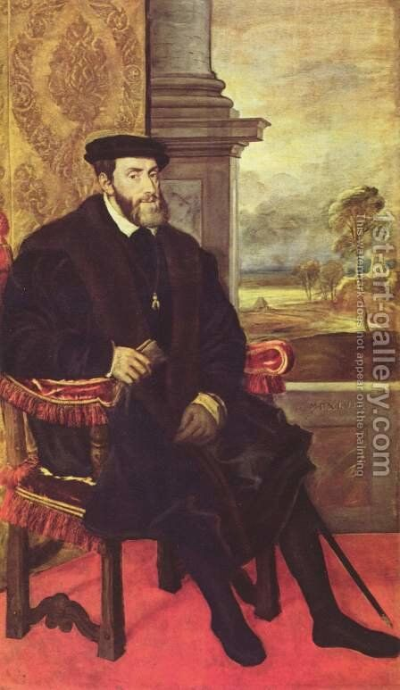 Portrait of Charles V in armchair by (after) Lambert Sustris - Reproduction Oil Painting