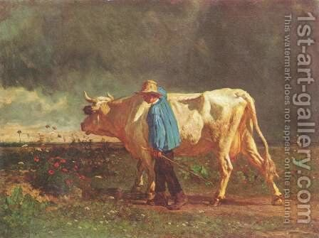 The cowherd by Constant Troyon - Reproduction Oil Painting