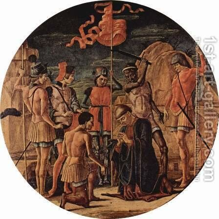 Altarpiece of St. Mauritius, scene Martyrdom of Saint Mauritius, Tondo by Cosme Tura - Reproduction Oil Painting