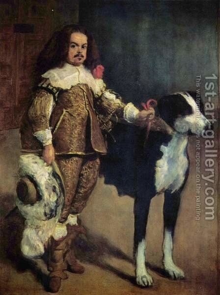 Court jester with a dog by Velazquez - Reproduction Oil Painting