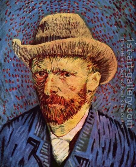 Self Portrait with Grey Felt Hat 2 by Vincent Van Gogh - Reproduction Oil Painting