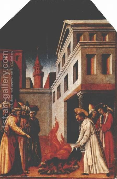 The fire miracle of St. Peter Martyr before the sultan by Antonio Vivarini - Reproduction Oil Painting