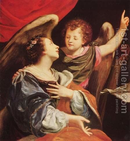 St. Cecilia with an angel by (after) Simon Vouet - Reproduction Oil Painting