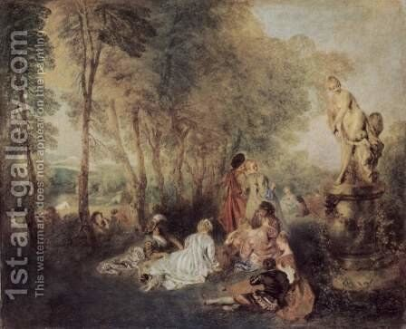 Fetes galantes by Jean-Antoine Watteau - Reproduction Oil Painting