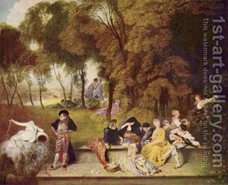 Convivial conversation outdoors by Jean-Antoine Watteau - Reproduction Oil Painting