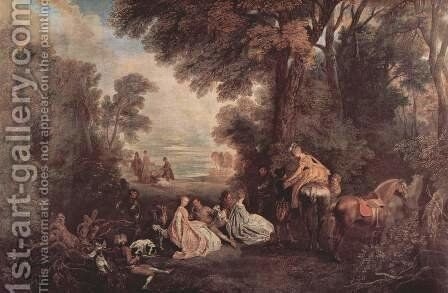 Meeting on the hunting (Rendez-vous de chasse) by Jean-Antoine Watteau - Reproduction Oil Painting