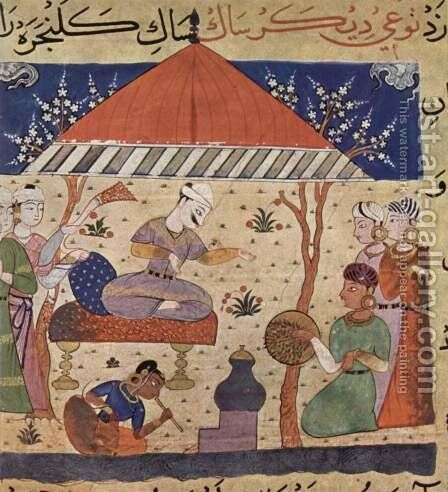 Nimat-Nama manuscript scene Shah and women by Indian School - Reproduction Oil Painting