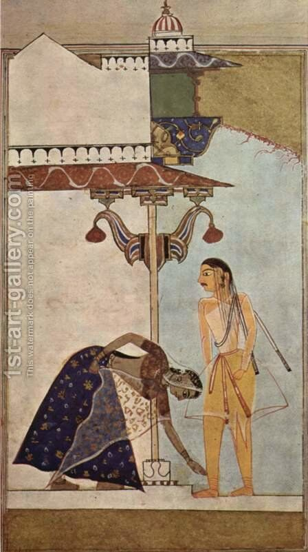 Laur-Chanda manuscript, Female and Male figures by Indian School - Reproduction Oil Painting
