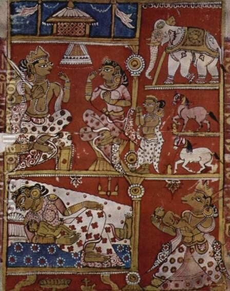 Kalpa Sutra manuscript, the scene of the embryo transfer by Indian School - Reproduction Oil Painting
