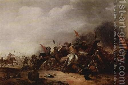 Battle Scene by Jacob Mathias Weyer - Reproduction Oil Painting