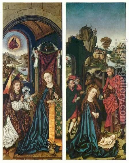 Peringsdorfer Altar, scenes, the Annunciation and the Adoration of the Child by Michael Wolgemut - Reproduction Oil Painting
