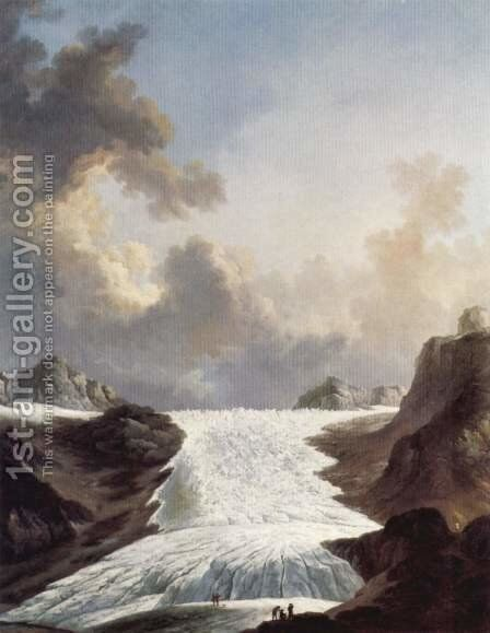 The Rhone glacier by Johann Heinrich Wuest - Reproduction Oil Painting
