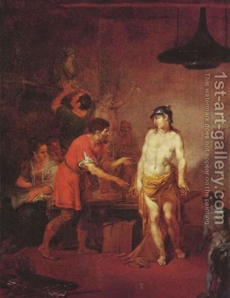Mercury in the workshop of the sculptor by Januarius Zick - Reproduction Oil Painting