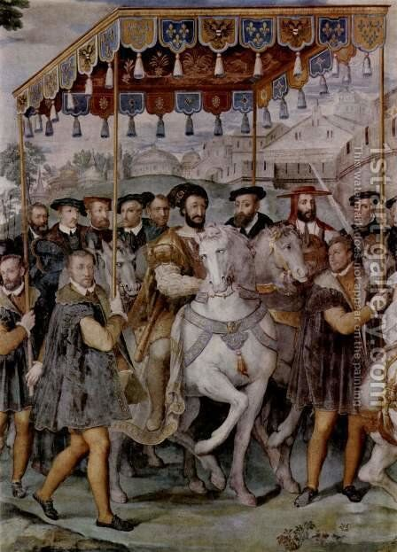 The Solemn Entrance of Emperor Charles V, Francis I of France, and Cardinal Alessandro Farnese into of Paris in 1540th by Taddeo Zuccari - Reproduction Oil Painting