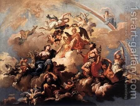 The Four Seasons Paying Homage to Chronos by Bartolomeo  Altomonte - Reproduction Oil Painting