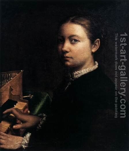 Self-Portrait Playing the Spinet by Sofonisba Anguissola - Reproduction Oil Painting