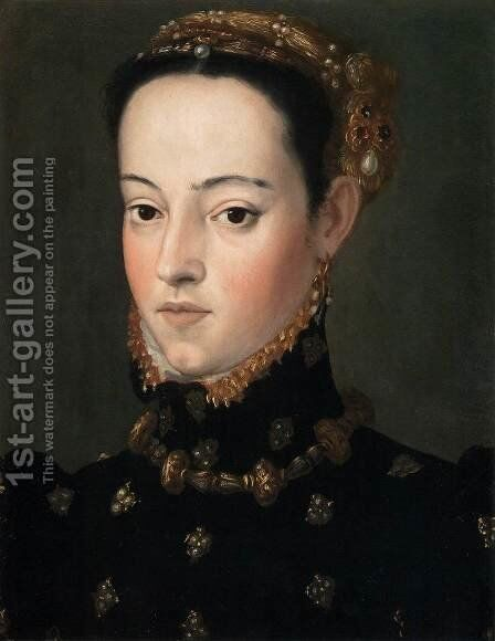 Bust of a Daughter of Ferdinand I 3 by Giuseppe Arcimboldo - Reproduction Oil Painting