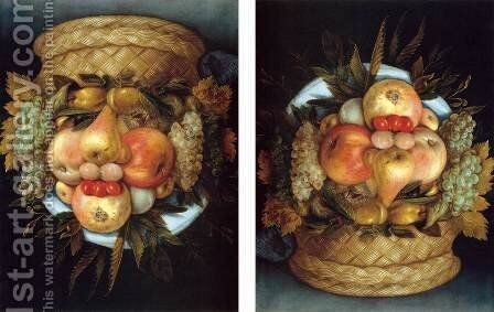 Reversible Head with Basket of Fruit by Giuseppe Arcimboldo - Reproduction Oil Painting
