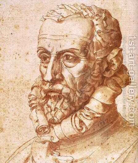 Self-Portrait on Paper (detail) by Giuseppe Arcimboldo - Reproduction Oil Painting