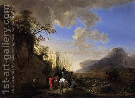 Coastal Scene with Resting Riders by Jan Asselyn - Reproduction Oil Painting