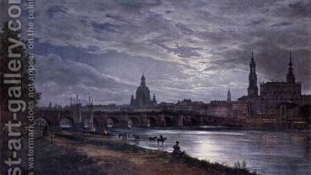 View of Dresden at Full Moon 1839 by Johan Christian Clausen Dahl - Reproduction Oil Painting