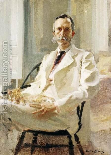 Man with a Cat (Henry Sturgis Drinker) by Beaux Cecilia - Reproduction Oil Painting