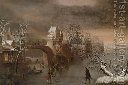 Skating near a Town Wall by Anthonie Beerstraten - Reproduction Oil Painting