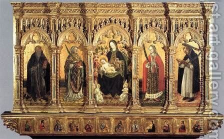 Madonna and Saints by Benedetto  Bembo - Reproduction Oil Painting
