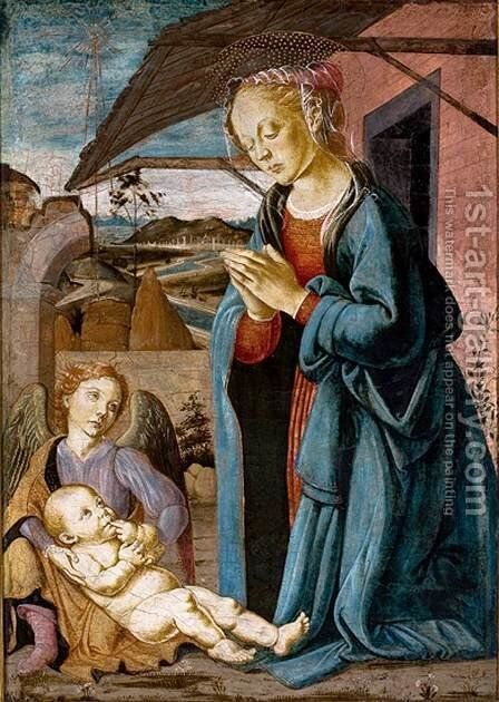 Madonna Adoring the Child with an Angel by Biagio D'Antonio - Reproduction Oil Painting
