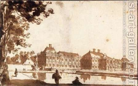 The Huis ter Nieuburch at Rijswijck, Seen from the South-Southwest by Jan de Bisschop - Reproduction Oil Painting