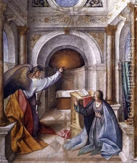 Annunciation to Mary by Boccaccio Boccaccino - Reproduction Oil Painting
