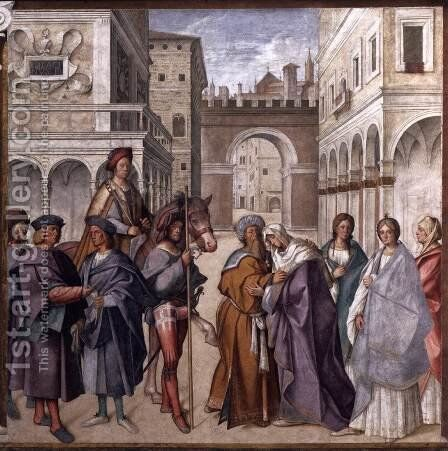 Meeting at the Golden Gate by Boccaccio Boccaccino - Reproduction Oil Painting