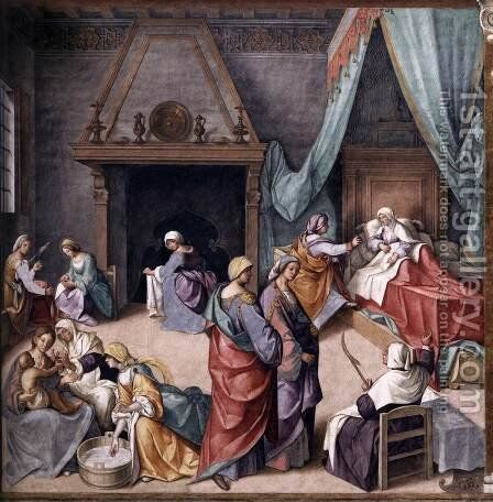 Birth of Mary by Boccaccio Boccaccino - Reproduction Oil Painting