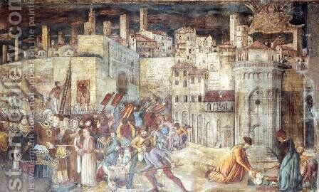 Burial of St Ercolano outside the Gates of Perugia by Benedetto Bonfigli - Reproduction Oil Painting