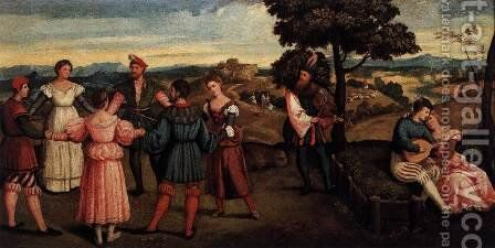 Outdoors Entertainment with Dancers by Bonifacio Veronese (Pitati) - Reproduction Oil Painting