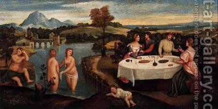Outdoors Entertainment with Bathers by Bonifacio Veronese (Pitati) - Reproduction Oil Painting