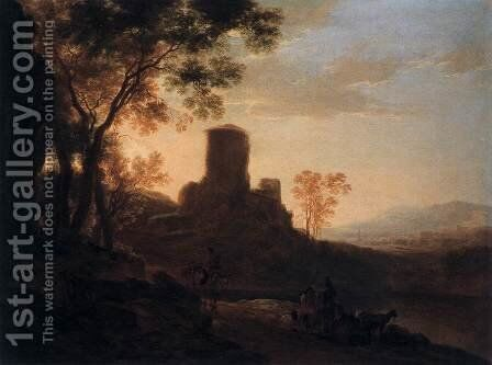 Italian Landscape with Ruined Tower by Jan Both - Reproduction Oil Painting