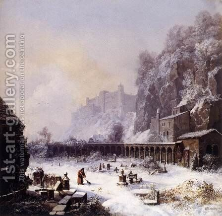 Graveyard of St. Peter's in Winter by Heinrich Bürkel - Reproduction Oil Painting