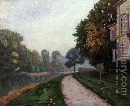 Riverbank in Morning Haze by Gustave Caillebotte - Reproduction Oil Painting
